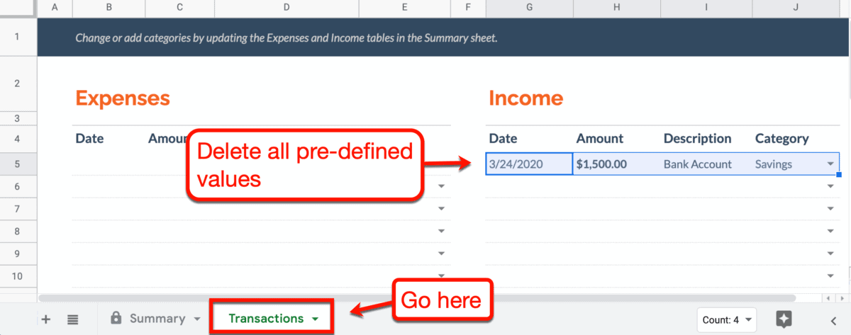 Deleting Predefined Transactions Google Sheets Budget Tracker