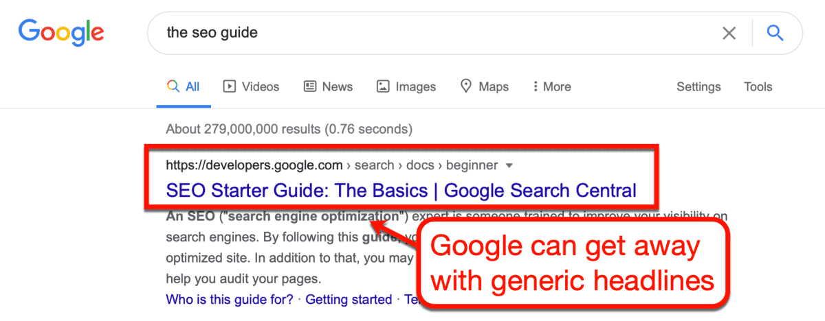 Generic Headline from Google