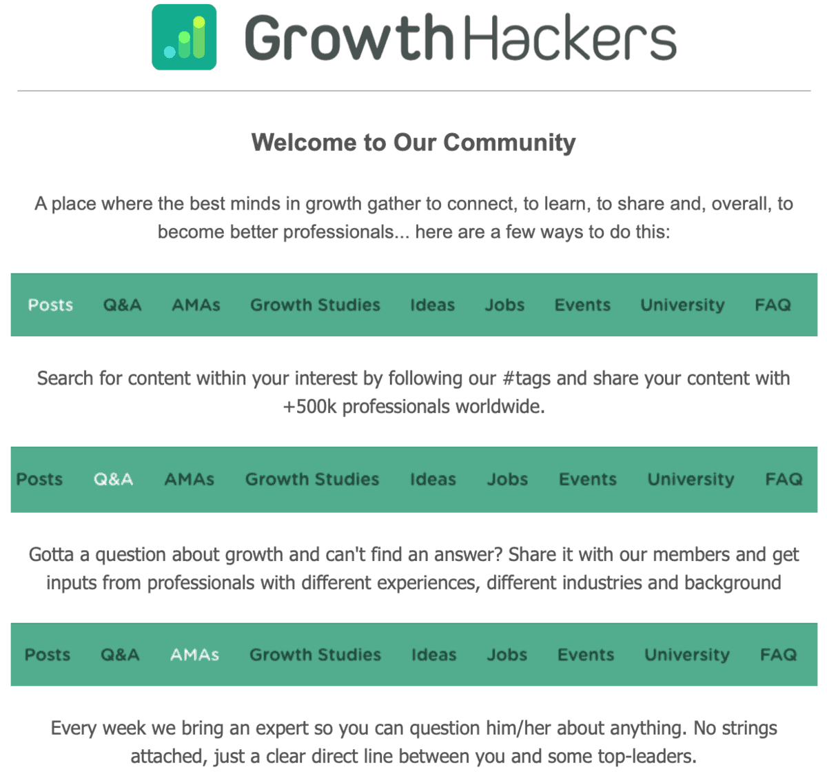 GrowthHackers Welcome Email