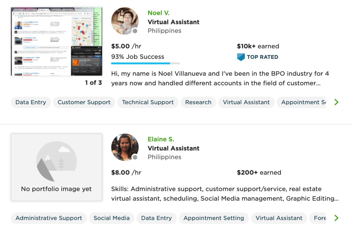 Upwork Virtual Assistants