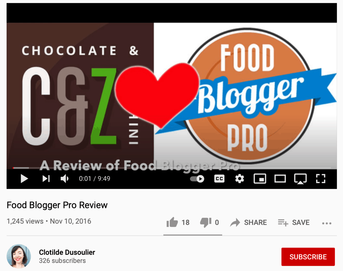 Food Blogger Pro Review on YouTube