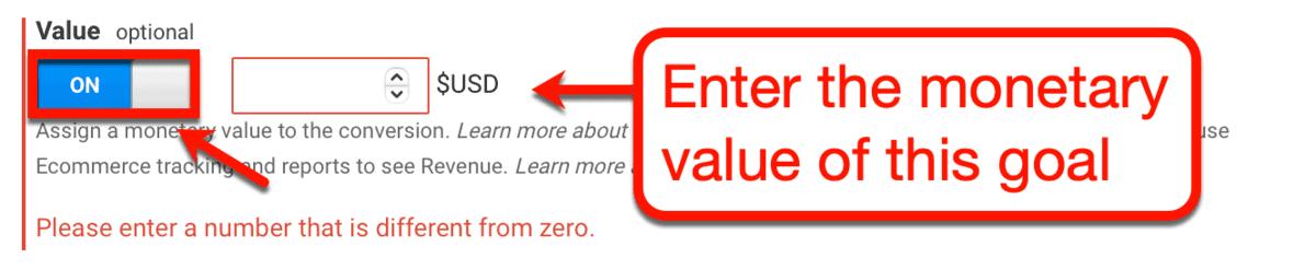 Assign Goal Monetary Value
