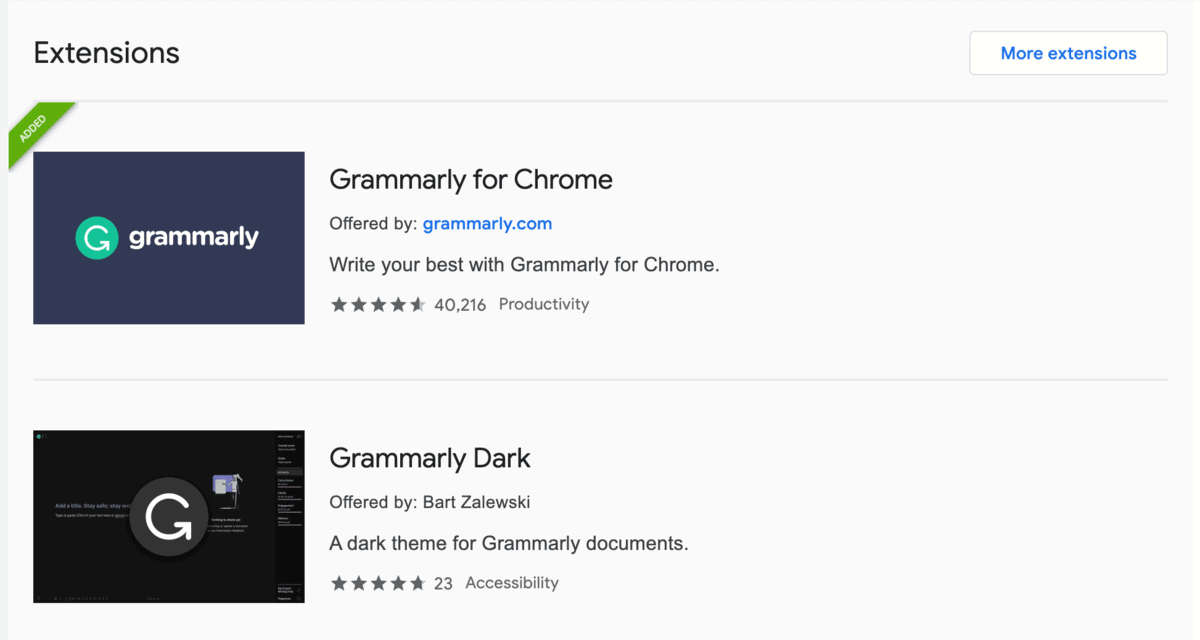 Grammarly from Chrome Web Store