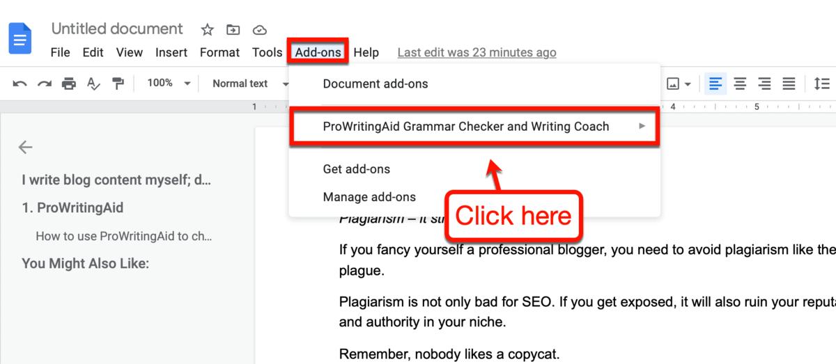 ProWritingAid Google Docs Add-On