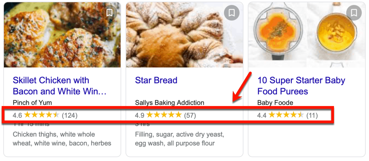 Recipes Rich Snippets on Google