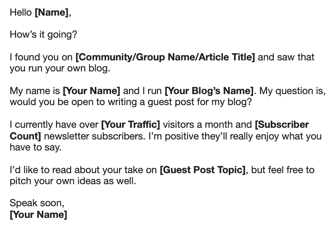 Reverse Guest Posting Email Example