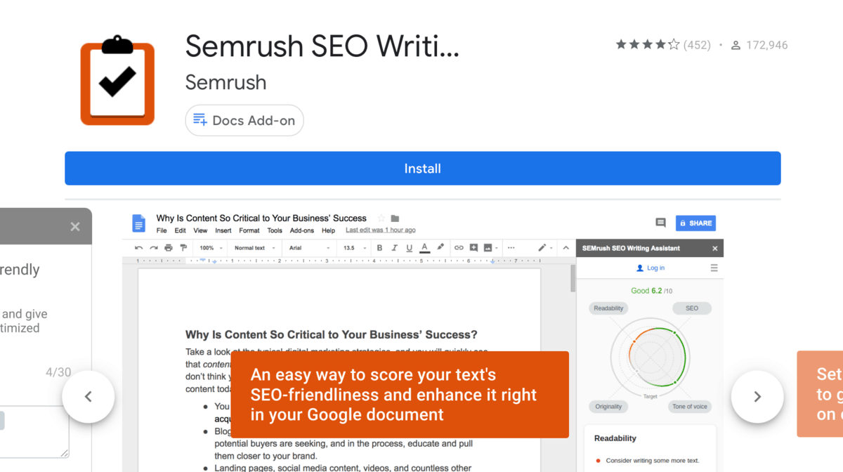 SEO Writing Assistant from Marketplace