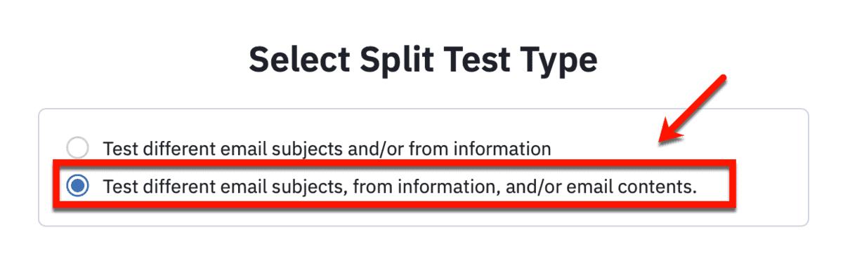 ActiveCampaign Split Test Type