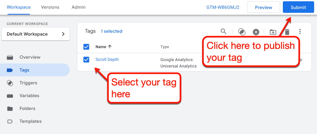 Submit Tag