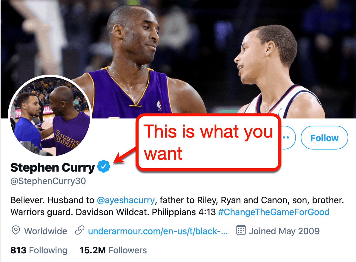 Stephen Curry's Checkmark on Twitter