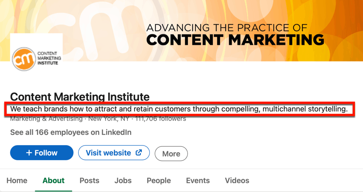 Content Marketing Institute LinkedIn Page