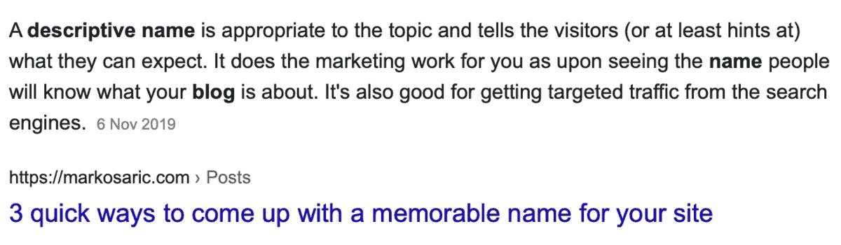 Descriptive Blog Names