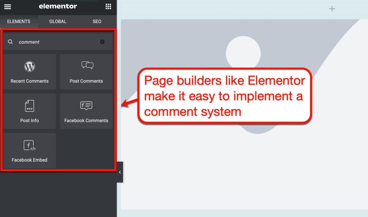 Elementor Comment Elements