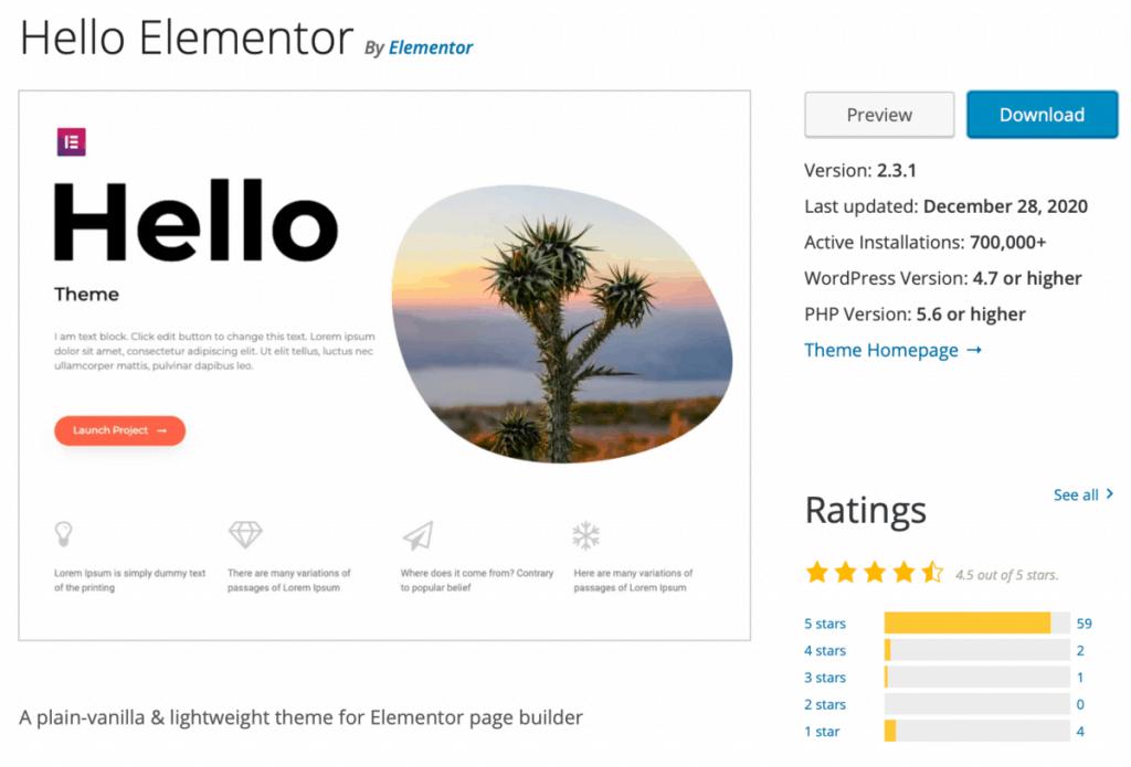 Hello Theme Elementor