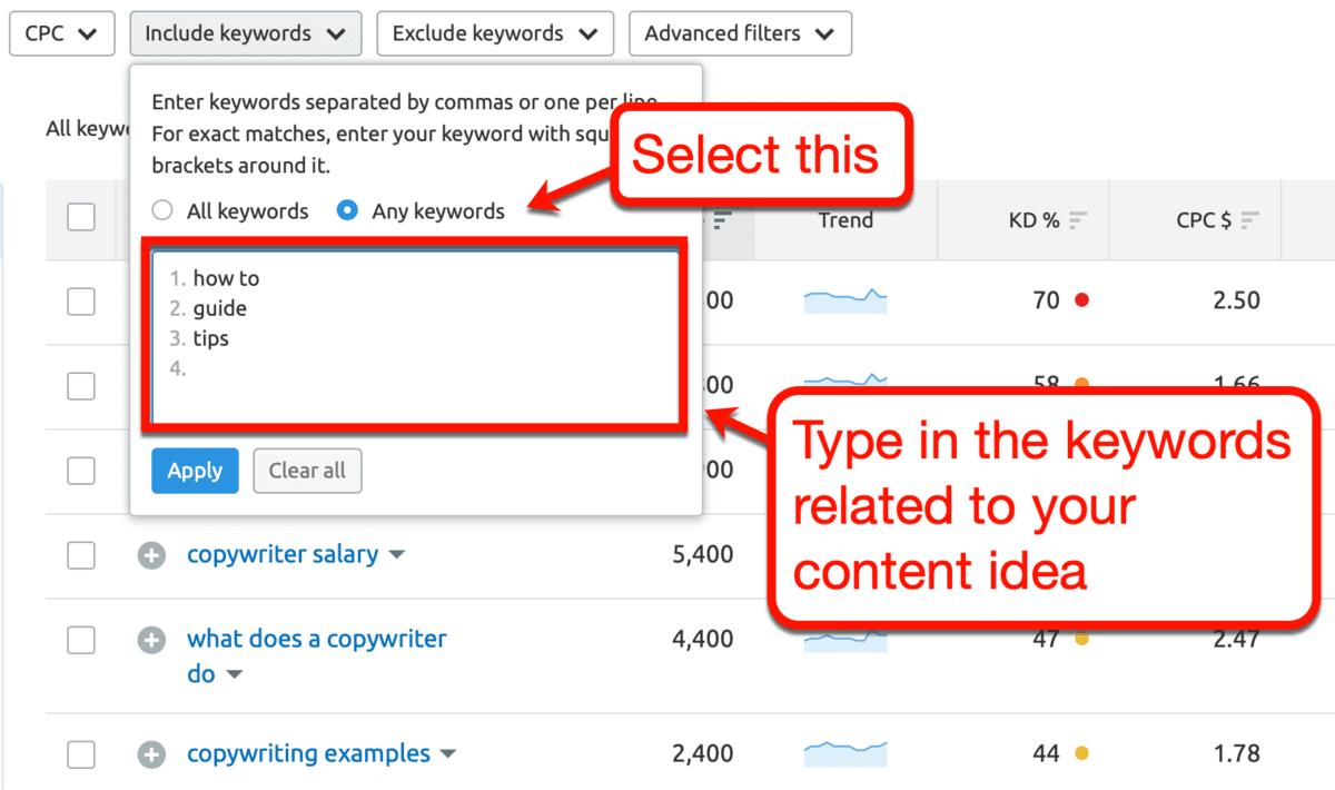 Keyword Magic Tool Include Keywords Filter