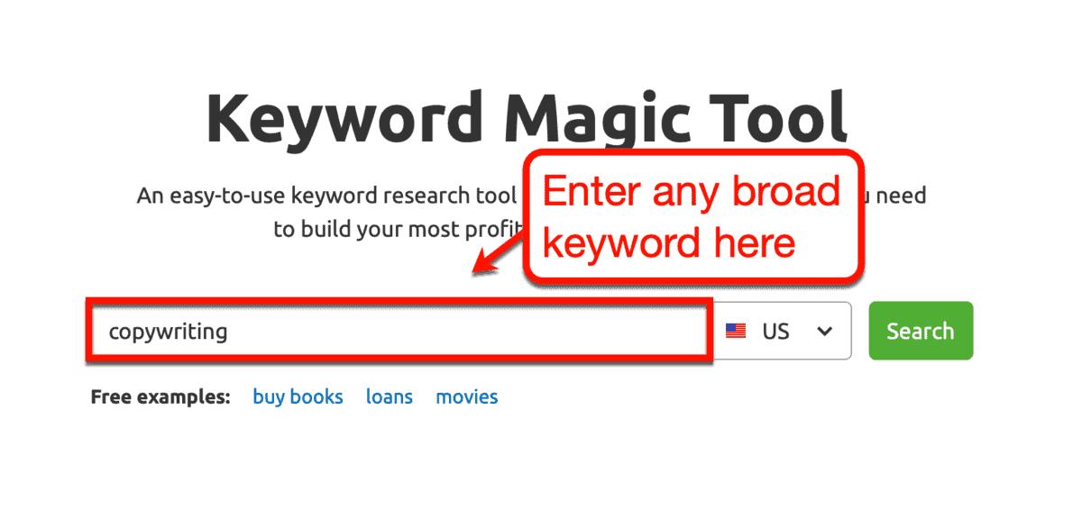 Keyword Magic Tool Interface