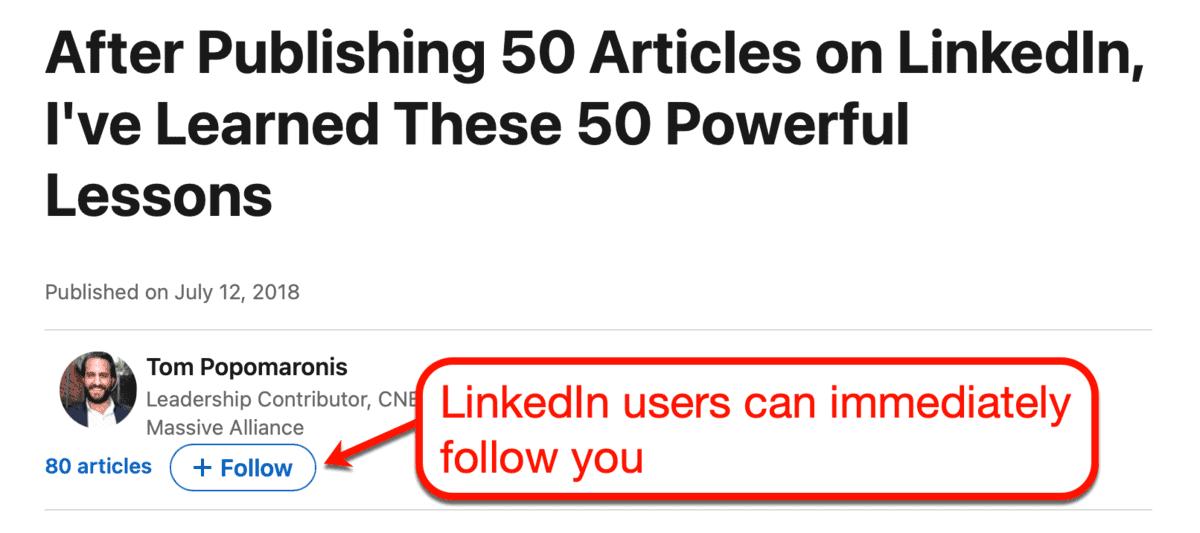 LinkedIn Article Follow Button