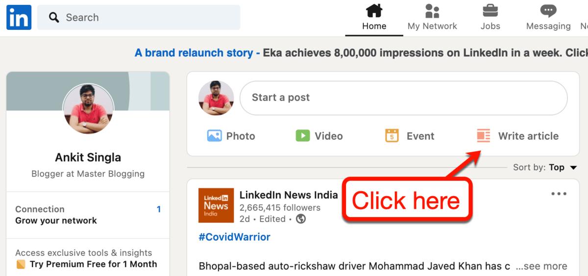 LinkedIn Write Article Button