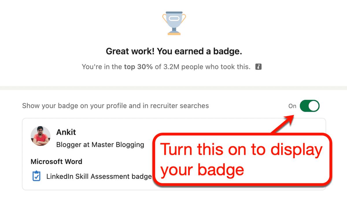 Show Badge Toggle