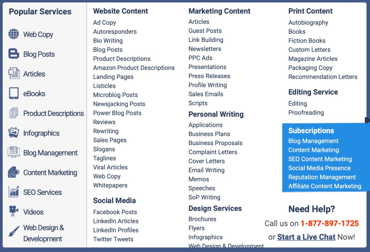 Content Development Pros Select a Service Window