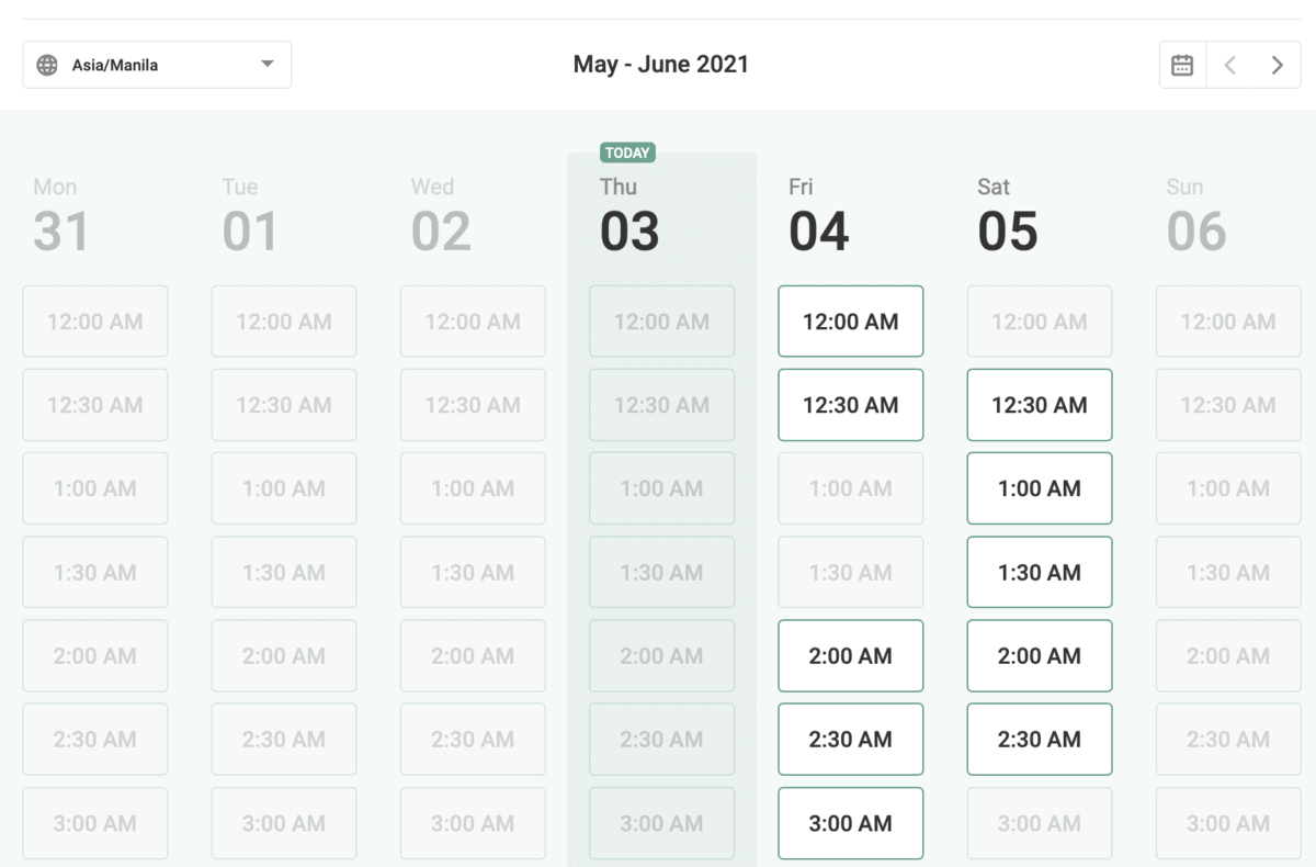 Content Refined Schedule Booking