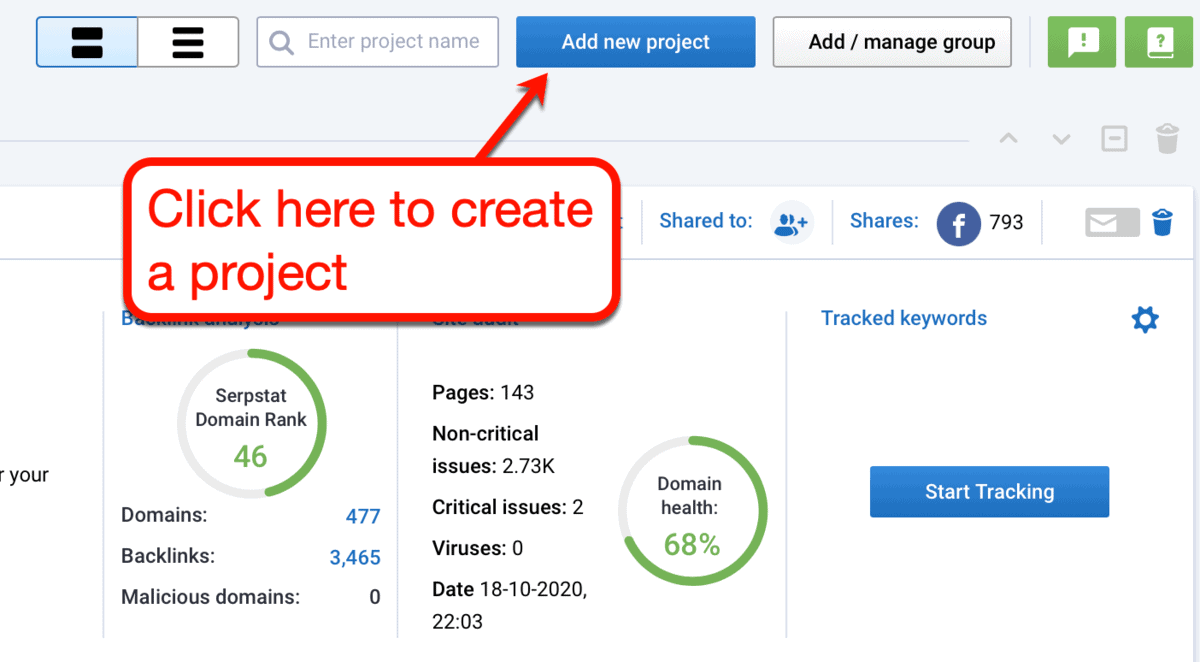 Add New Project Button