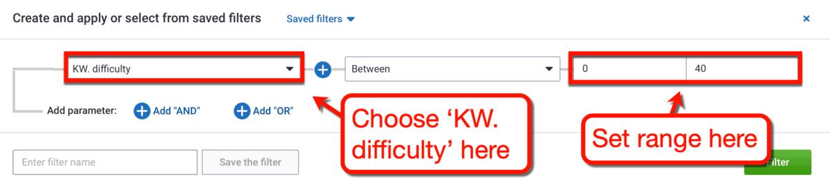 Keyword Difficulty Filter Settings