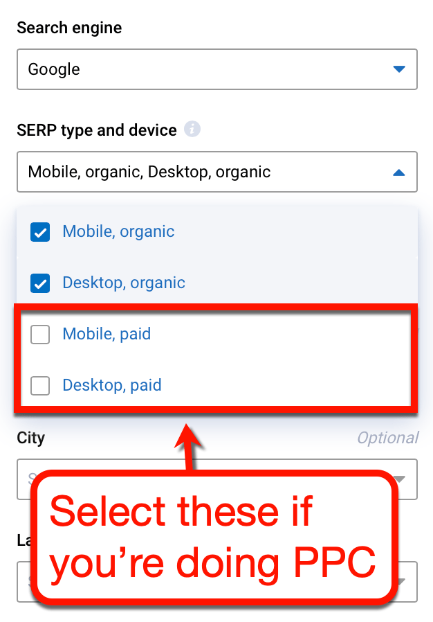 Search Regions PPC Keyword