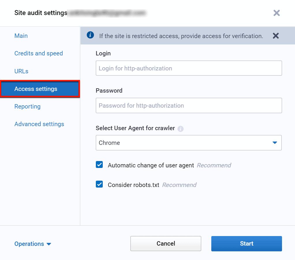 Site Audit Access Settings