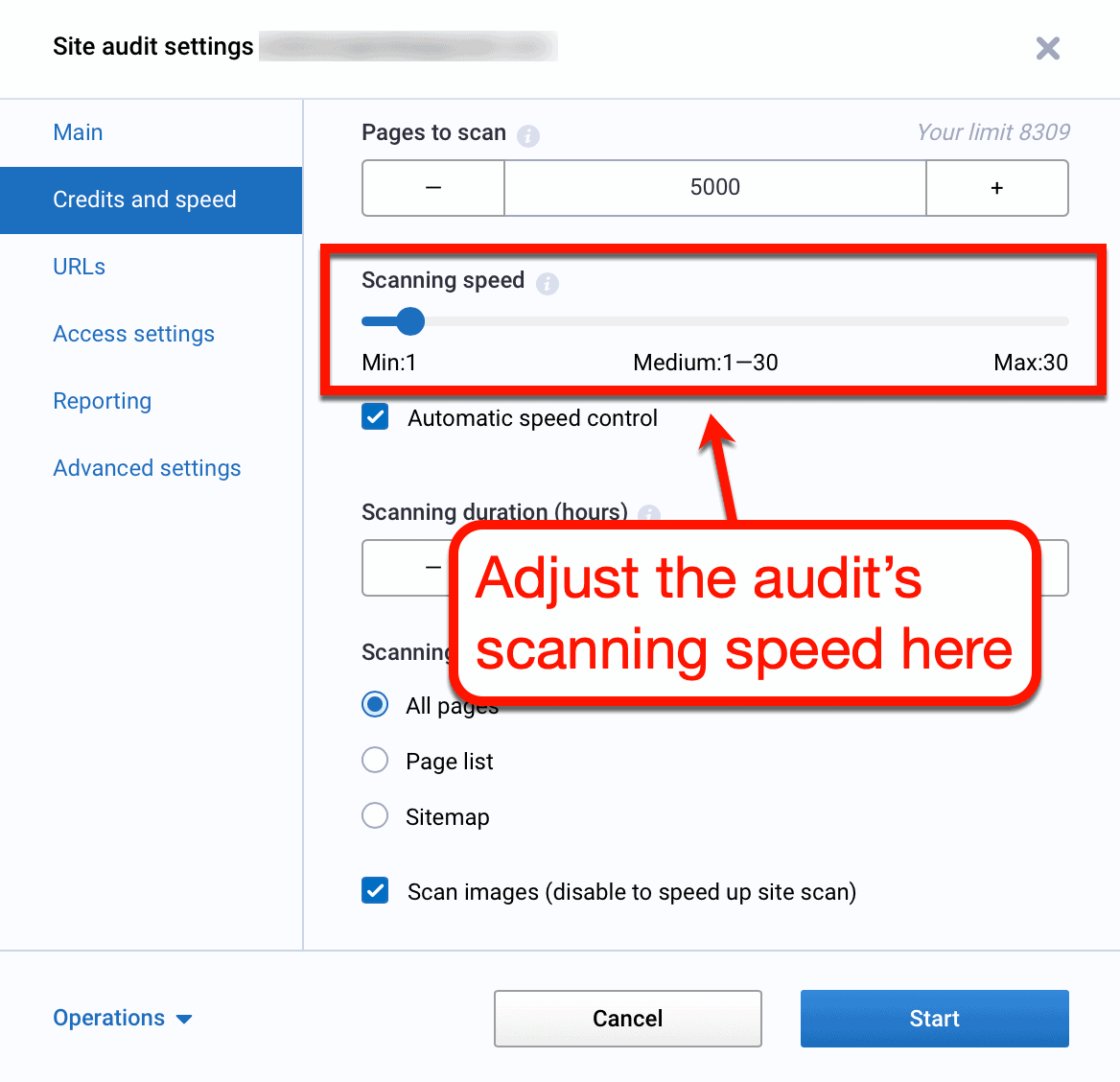 Site Audit Scanning Speed Settings