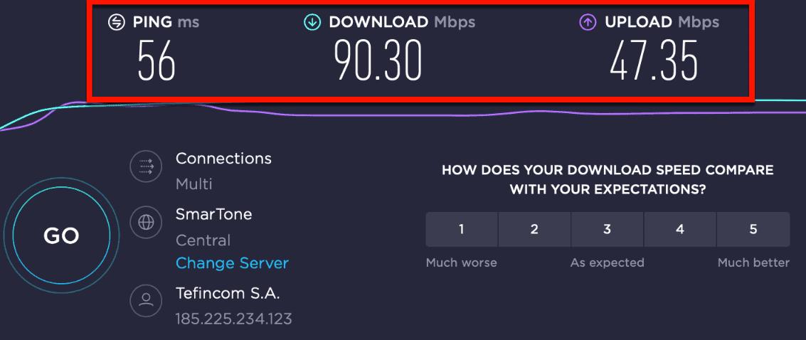 SpeedTest with NordVPN