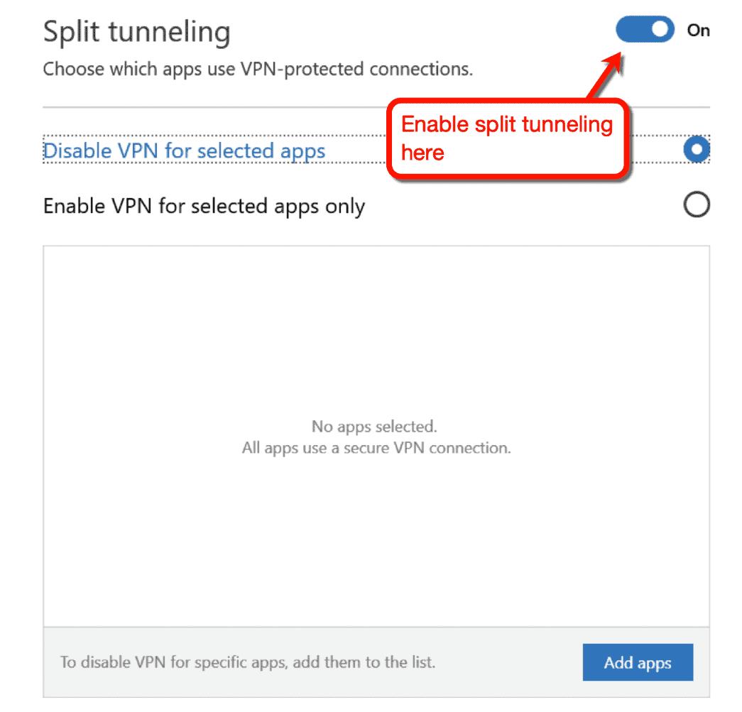 Split Tunneling Feature
