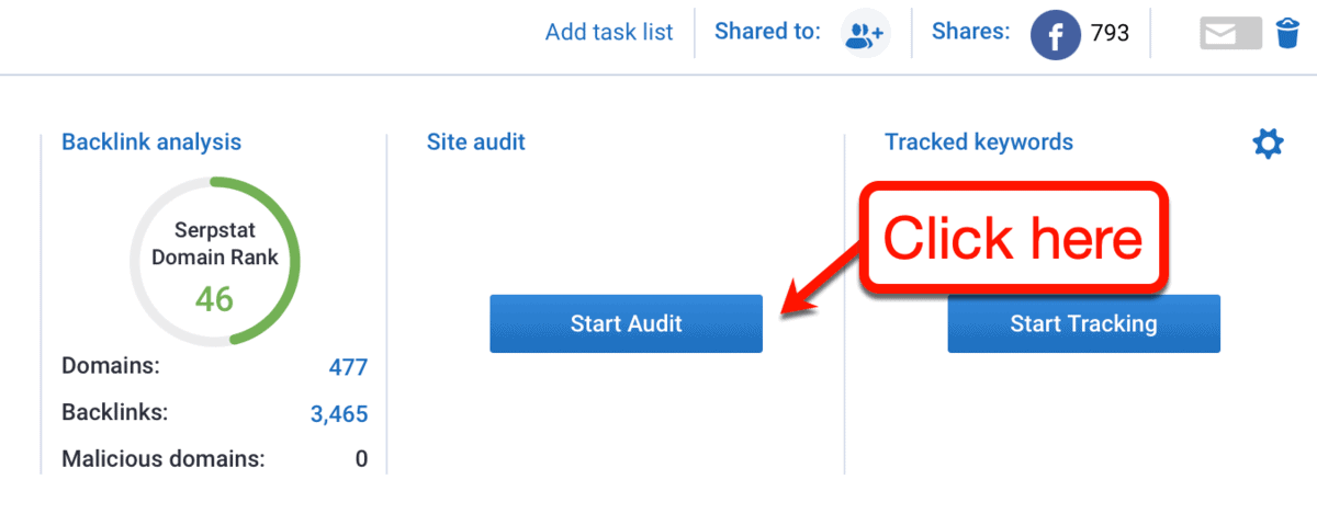 Start Site Audit Button