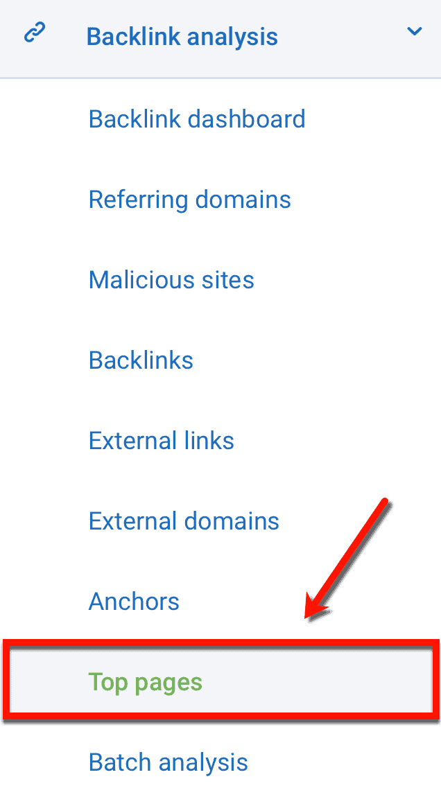 Main Menu Top Pages Link