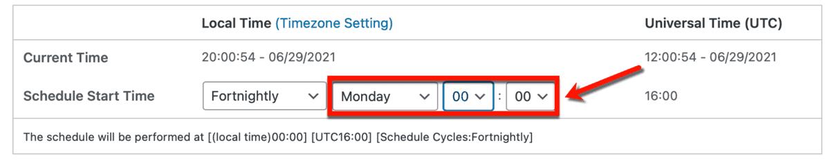 Set Backup Schedule
