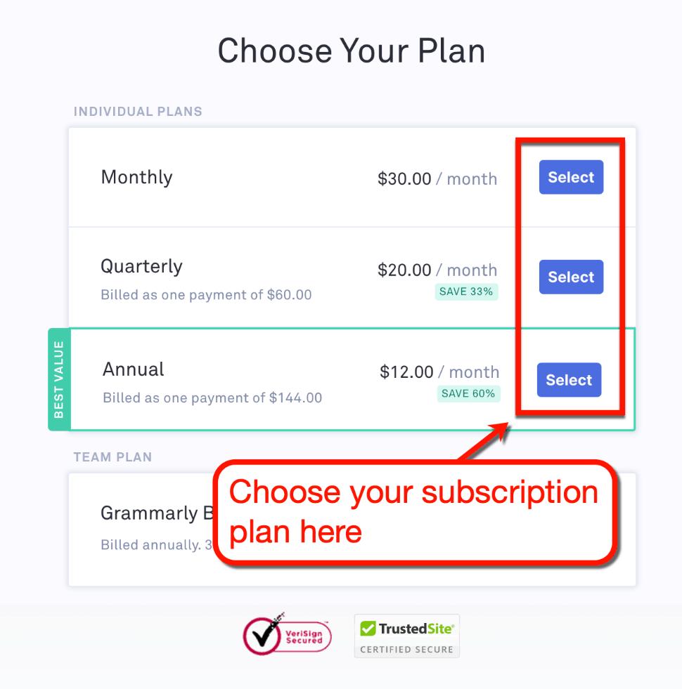 Grammarly Premium Plans