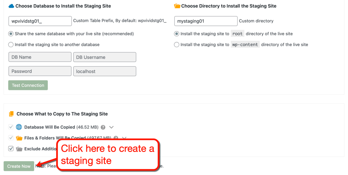 Configuring Your Staging Site