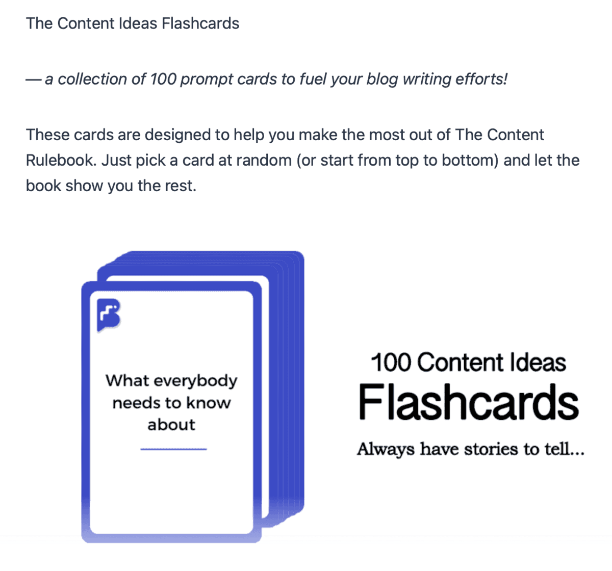 Content Ideas Flashcards