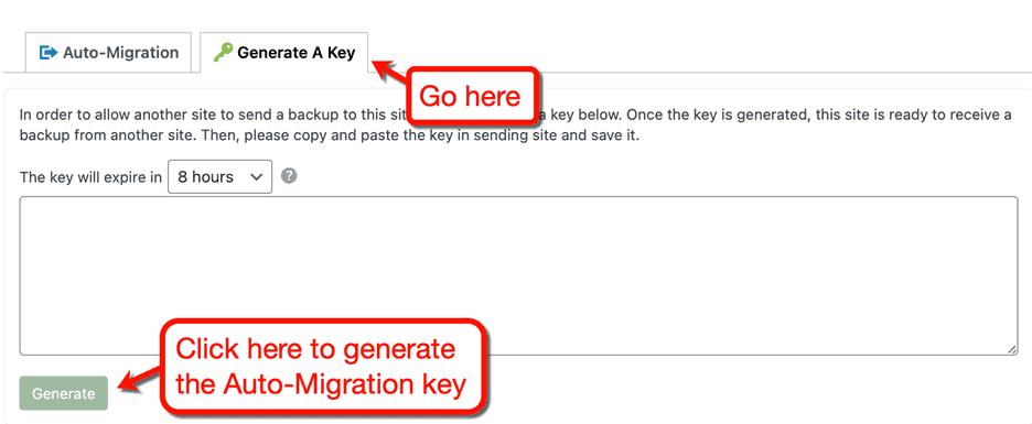 Generate Migration Key