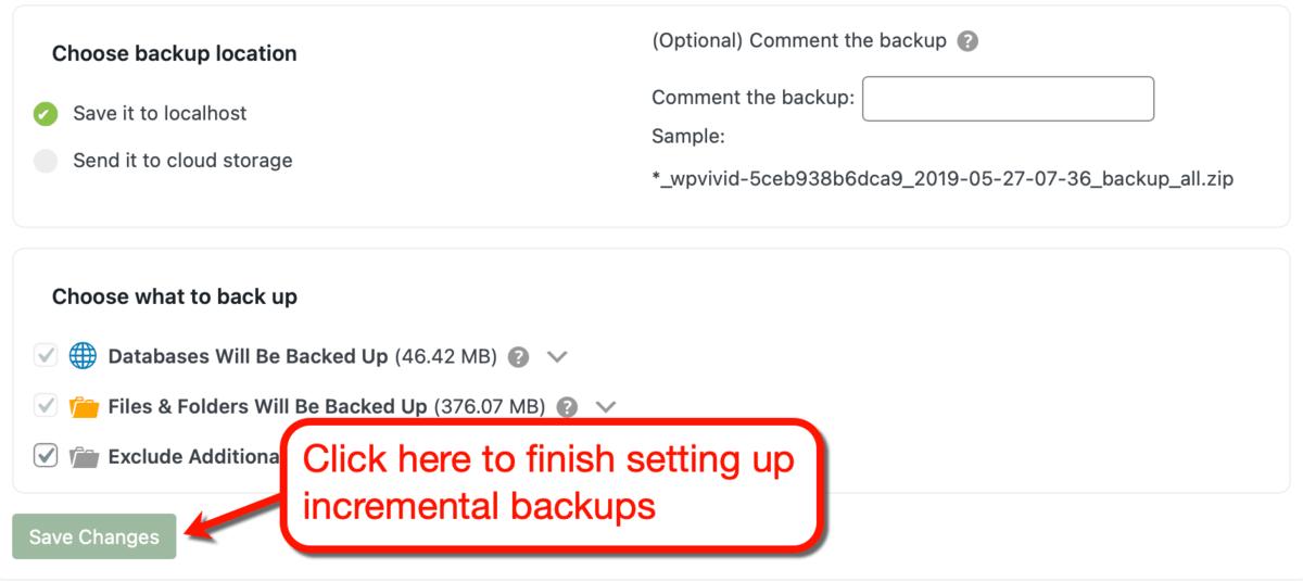 Save Incremental Backup Settings