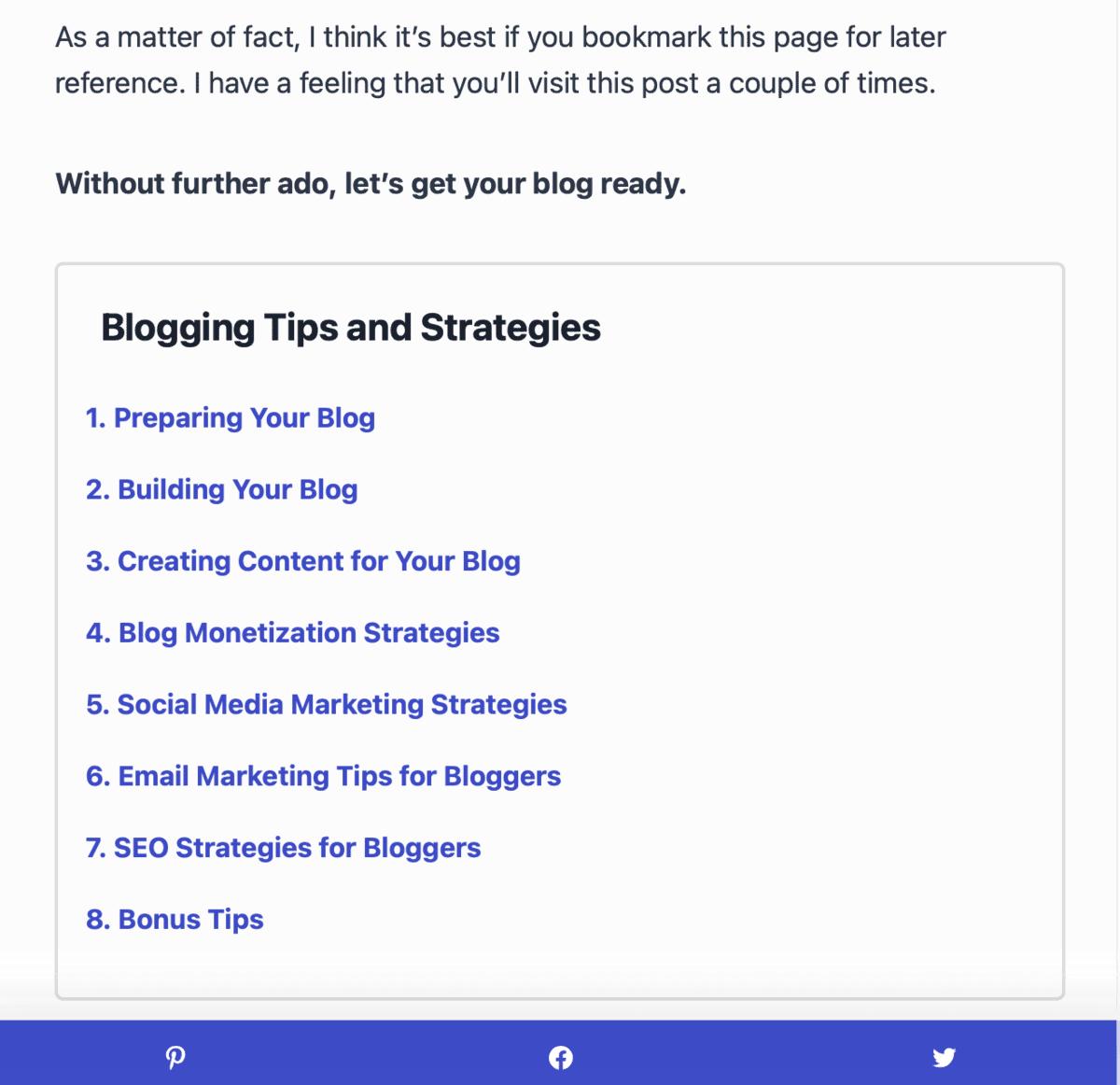 Numbered List on Master Blogging