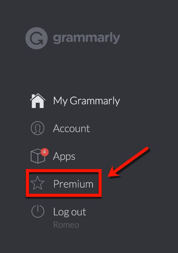 Grammarly Dashboard Premium Page