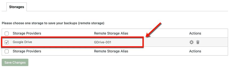 Selecting Google Drive as Storage