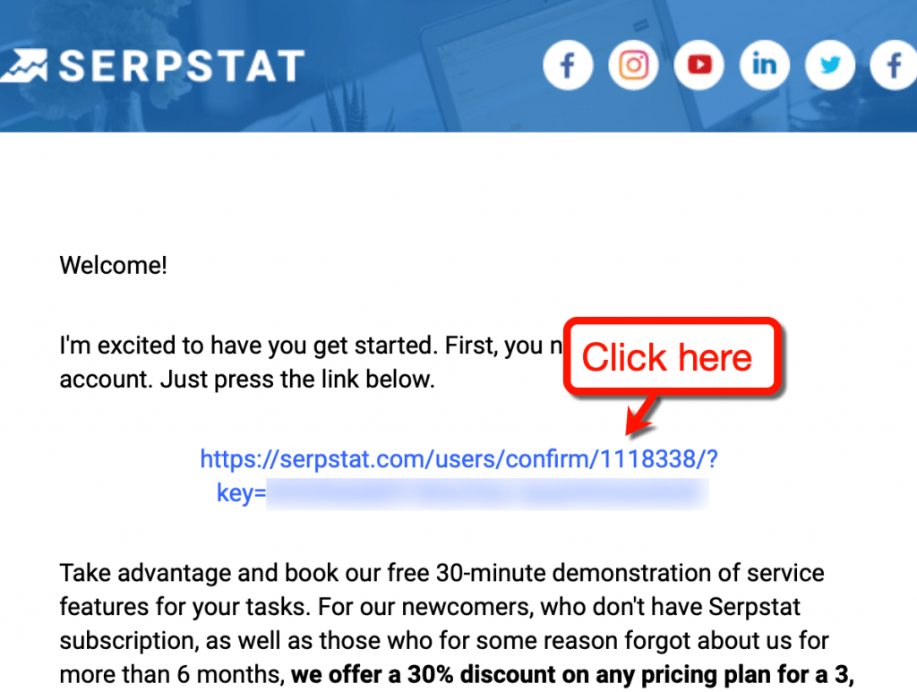 Serpstat Confirmation Email