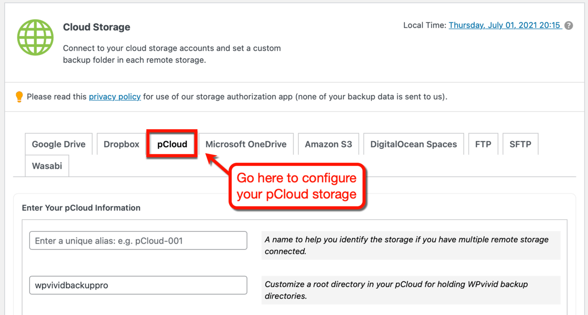 Setting Up pCloud