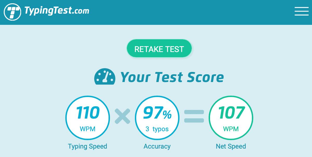 TypingTest.com Results