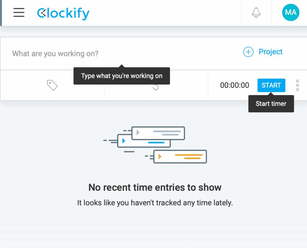 Clockify Main Interface