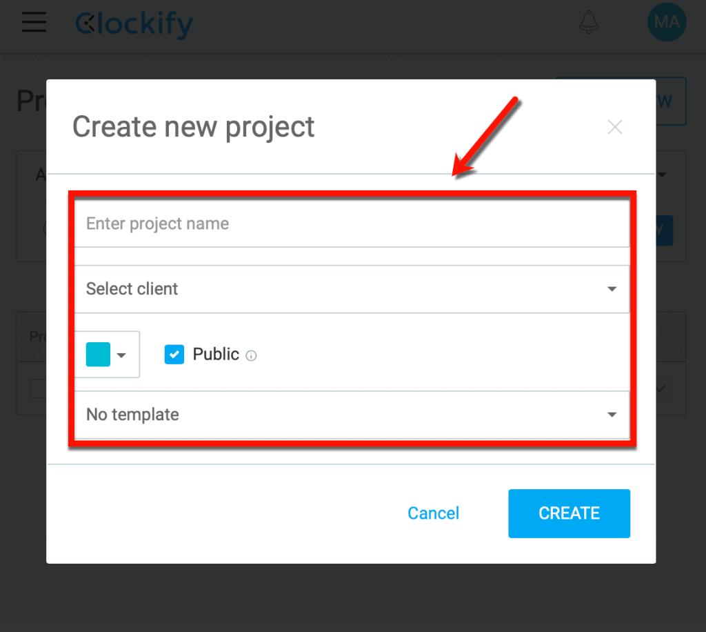Create New Clockify Project