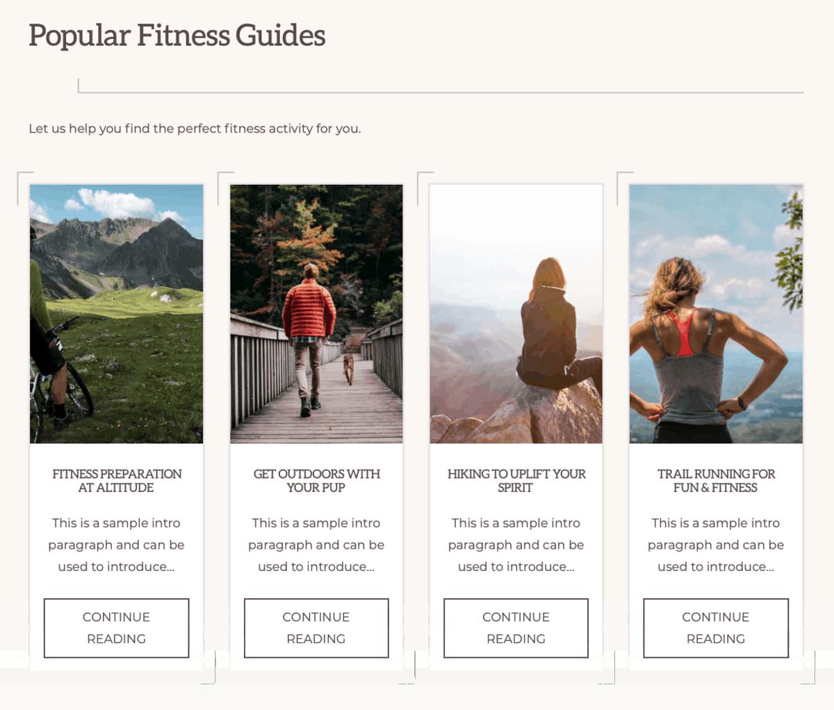 Navigation Pro Fitness Page