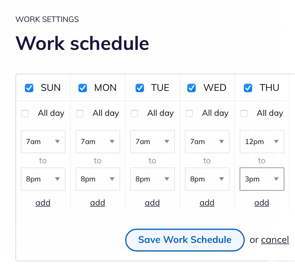 RescueTime Work Schedule
